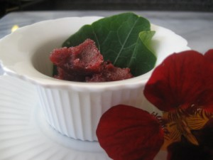 Cherry sorbet with nasturtium